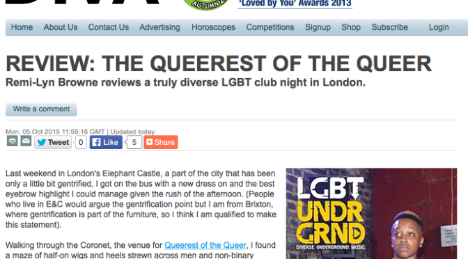 "#Review: @DIVAmagazine – ""#LGBTUNDERGROUND at QueerestOfTheQueer"""